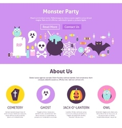 Monster party website design vector