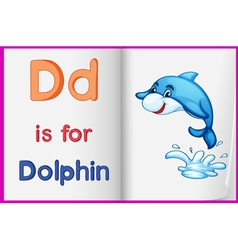 Dolphin and a book vector