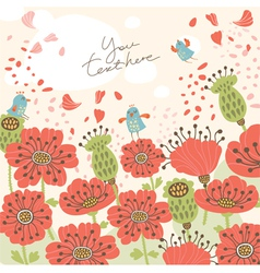 Poppy floral background vector