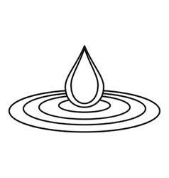Water drop and spill icon outline style vector
