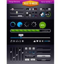 Set of user interface elements vector