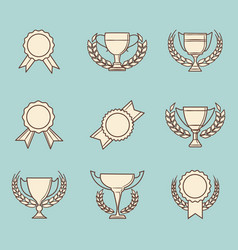 Retro winner cups and victory prizes vector