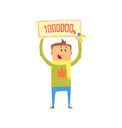 Cartoon happy man with check for one million vector