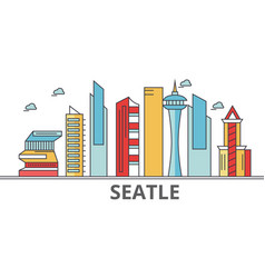 Seattle city skyline buildings streets vector