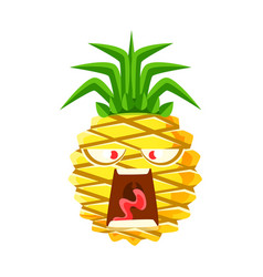screaming pineapple emoticon cute cartoon emoji vector image