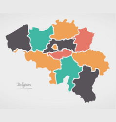 Belgium map with states and modern round shapes vector