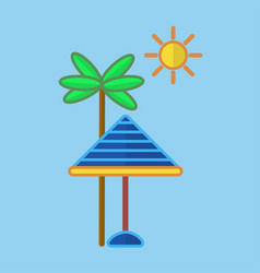 Sun protecting umbrella at palm vector
