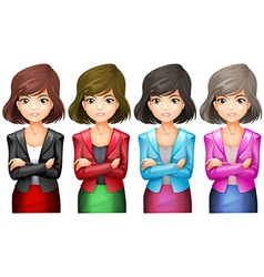 Office girls in different uniforms vector image