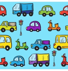 Colorful hand drawn doodle cartoon cars seamless vector