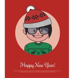 Holiday card with hipster santa in red knitted hat vector