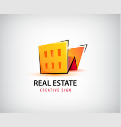 3d real estate building house logo vector image vector image
