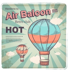 Hot air baloon retro poster vector
