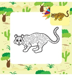 Leopard coloring page vector