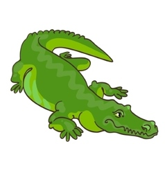 Green crocodile in cartoon style vector image