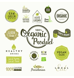Set of organic food labels and design elements vector