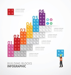 Infographic template step building blocks banner vector