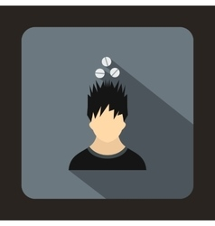 Man with tablets over head icon flat style vector