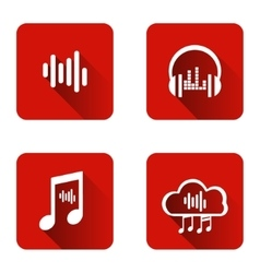 Set of icons for music streaming service vector