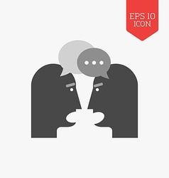 Two person chatting icon dispute concept flat vector