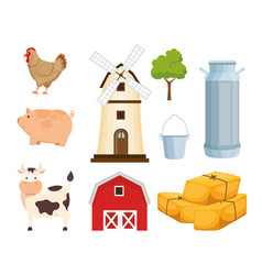 agriculture and farming icon set vector image