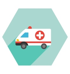 Ambulance car flat hexagon icon with long shadow vector