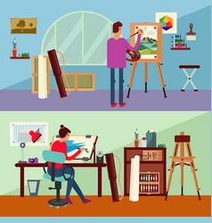 Art studio horizontal banners vector