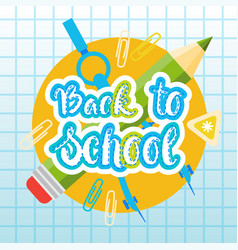 Back to school logo text on notebook background vector
