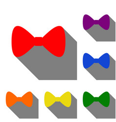Bow tie icon set of red orange yellow green vector