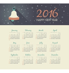 Calendar 2016 year with christmas bell vector