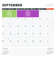 Calendar planner for september 2018 print design vector