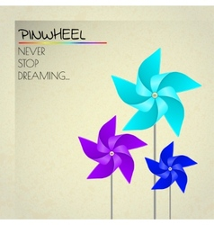 Colorful violet blue and dark blue pinwheels vector