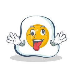 Crazy fried egg character cartoon vector