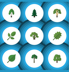 Flat icon ecology set of tree wood park and vector