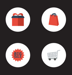 flat icons present trolley big sale and other vector image vector image