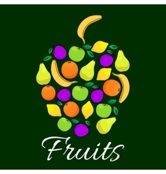 Fruits flat icons combined in shape of apple fruit vector
