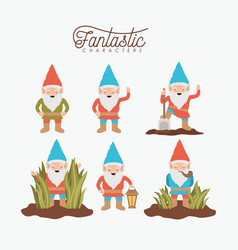 gnome fantastic character set with costume and vector image vector image