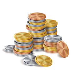 Gold silver bronze copper coins stacks vector