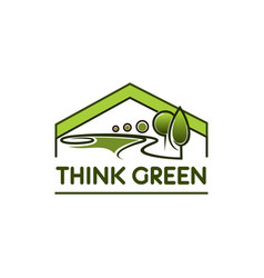 green environment eco house tree park icon vector image vector image