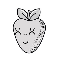 Hand drawn kawaii nice happy strawberry icon vector
