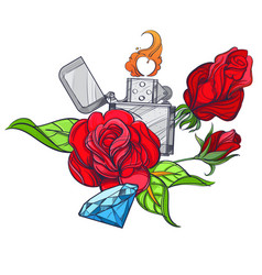 Hand drawn vintage zippo with roses and diamond vector