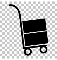 Hand truck sign flat style black icon on vector