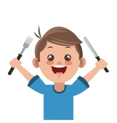 Happy boy cartoon holding fork and knife icon vector