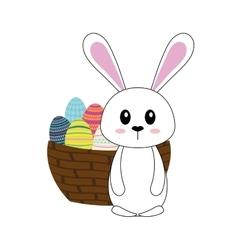 Happy easter bunny cartoon icon vector
