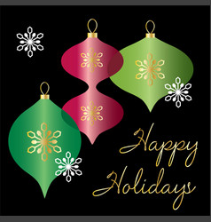 happy holidays graphic with overlapping ornaments vector image vector image