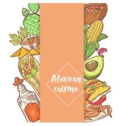 Mexican food hand drawn doodle vector