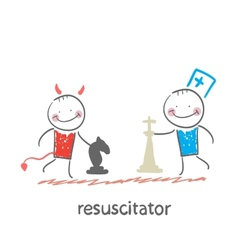 Resuscitator plays chess with the devil vector