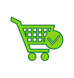 shopping cart with check mark sign lemon vector image vector image