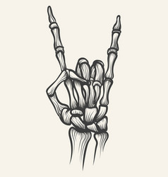 skeleton heavy metal bones hand horn vector image
