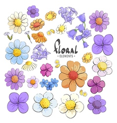Variety of wild flowers vector