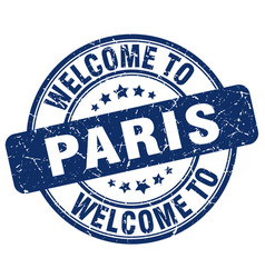 Welcome to paris blue round vintage stamp vector